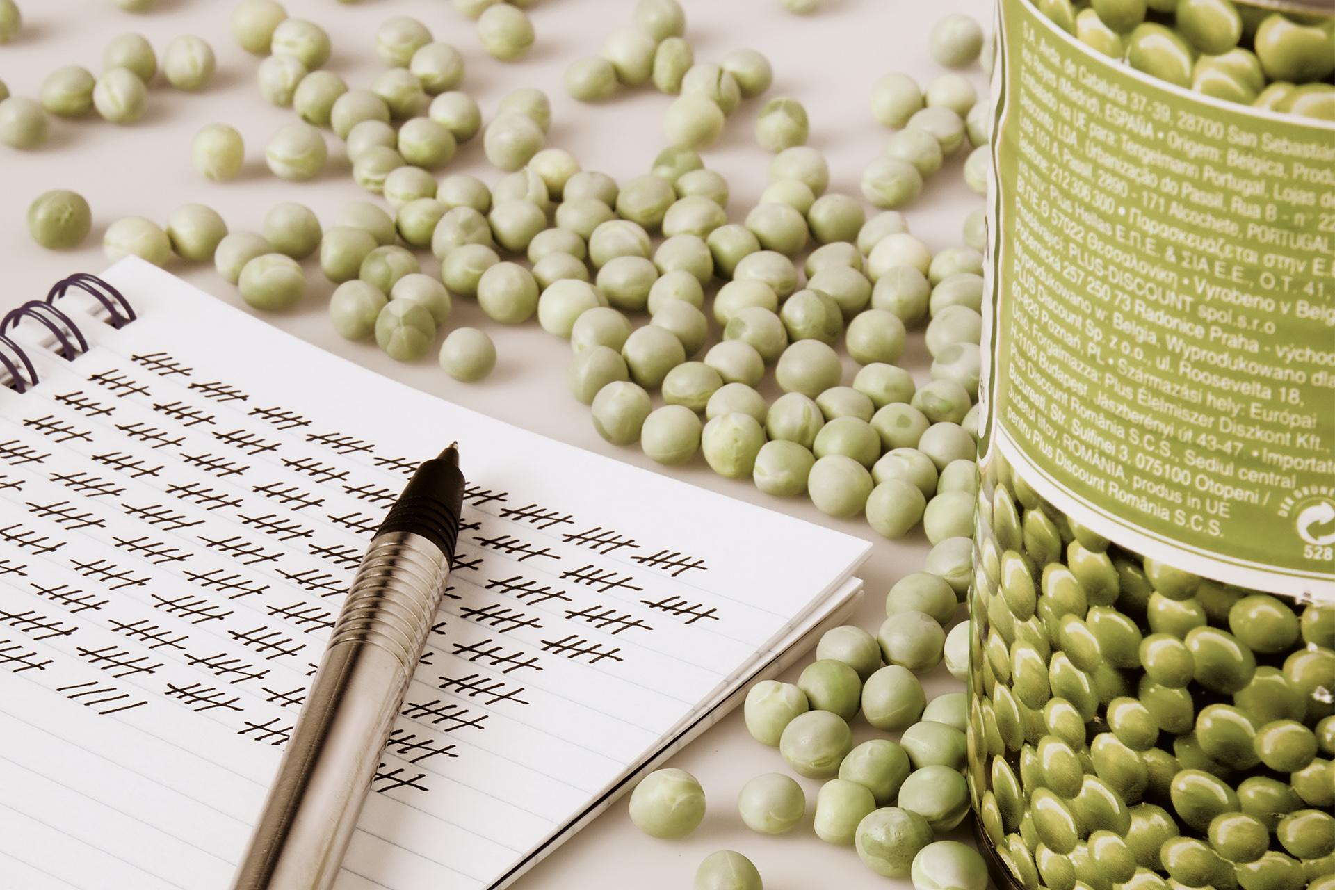 Auf einem Tisch liegen getrocknete Erbsen und ein vollgeschriebenes Notizblatt mit Stift.